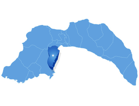 pulled out: Map of Antalya with each administrative district where Kemer is pulled out