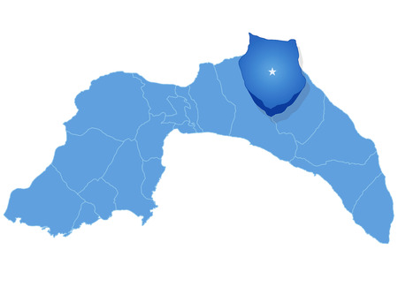 plat: Map of Antalya with each administrative district where Ibradi is pulled out