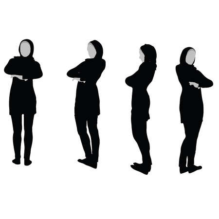 Muslim woman silhouette in arms crossed pose, isolated on white background Vettoriali