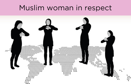 relating: Muslim woman silhouette in respect pose, isolated on white background