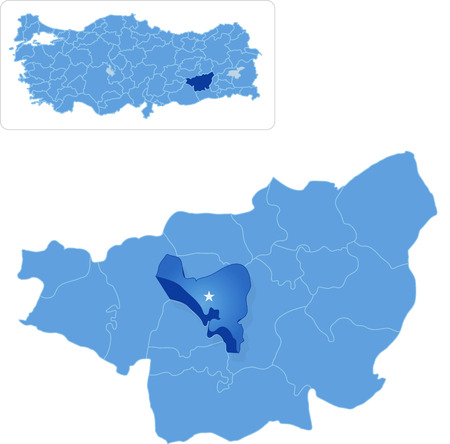 pulled out: Map of Diyarbakir with each administrative district where Yenisehir is pulled out