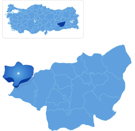 district': Map of Diyarbakir with each administrative district where Cungus is pulled out
