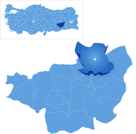 piojos: Mapa de Diyarbakir con cada distrito administrativo donde los piojos se sacó
