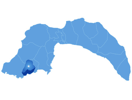 plat: Map of Antalya with each administrative district where Demre (Kale) is pulled out