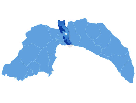 Map of Antalya with each administrative district where Aksu is pulled out