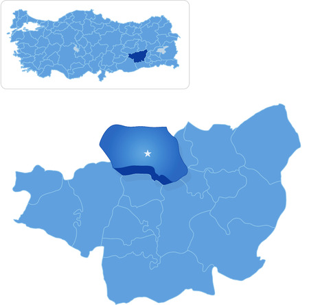 pulled out: Map of Diyarbakir with each administrative district where Dicle is pulled out Illustration