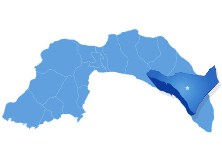 pulled out: Map of Antalya with each administrative district where Alanya is pulled out