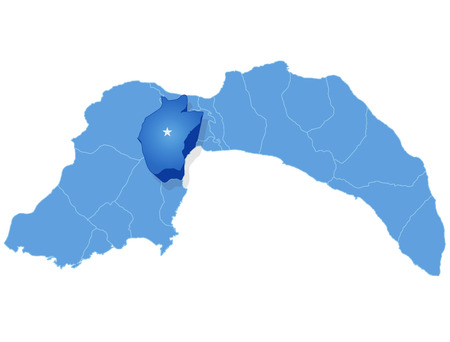 plat: Map of Antalya with each administrative district where Konyaalti is pulled out