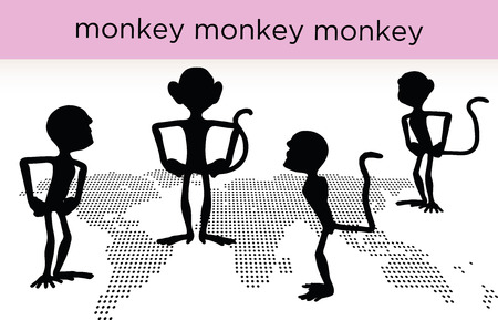 relating: monkey silhouette in various poses, isolated on white background