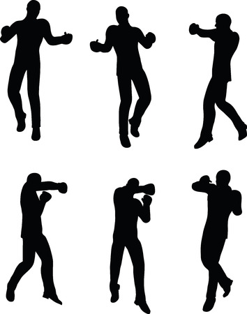 strong box: illustration of boxer businessman silhouette in black
