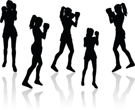 illustration of boxer woman silhouette in black