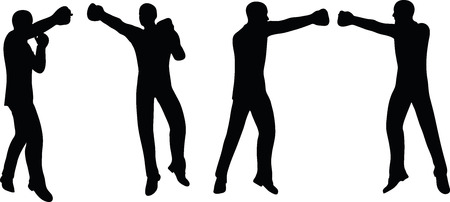 female fighter: illustration of boxer businessman silhouette in black
