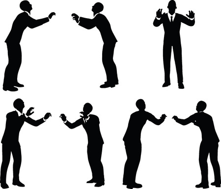 shove: EPS 10 vector illustration of business man silhouette in push pose