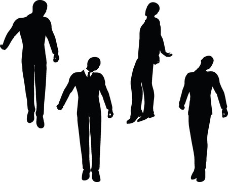 despondent: EPS 10 vector illustration of business man silhouette in sorrowful pose