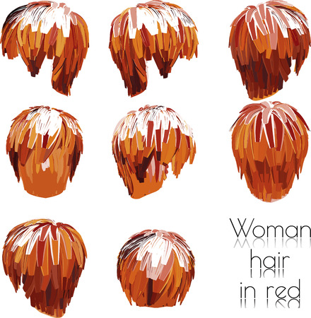 hairstylist: EPS 10 vector illustration of woman hair in red