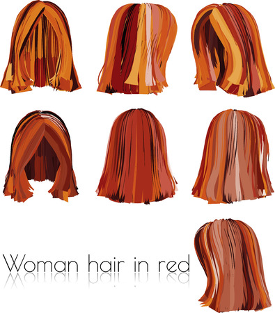coiffeur: EPS 10 vector illustration of woman hair in red