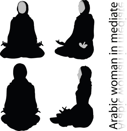 Arabic woman silhouette in meditating pose, isolated on white background