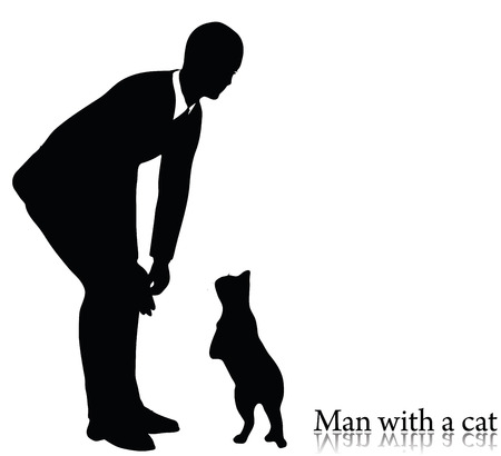 fondle: EPS 10 vector illustration of business man silhouette with a cat