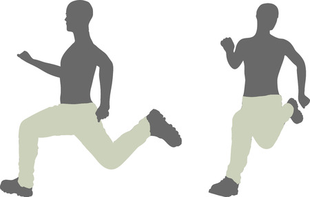 EPS 10 vector illustration of a man silhouette in run escape pose