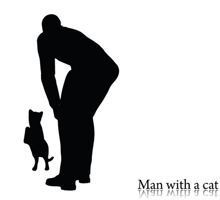EPS 10 vector illustration of business man silhouette with a cat