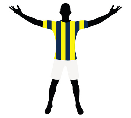 victorious: EPS 10 vector illustration of soccer player silhouette in yellow blue navy Illustration