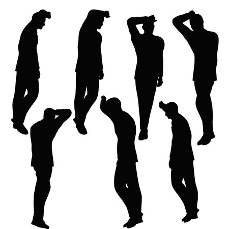 EPS 10 vector illustration of business man silhouette in anxious pose Illustration