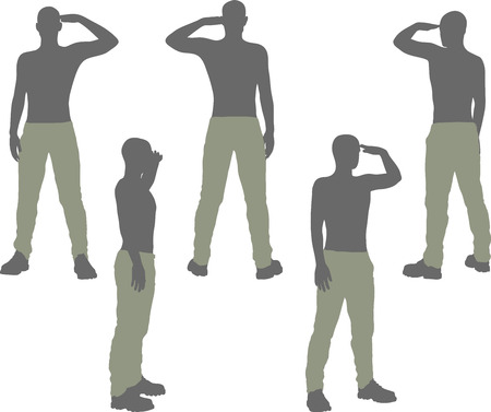 courteous: EPS 10 vector illustration of a man silhouette in salute, salutation pose Illustration
