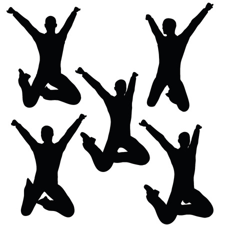 ebullient: EPS 10 vector illustration of business man silhouette in joyful pose