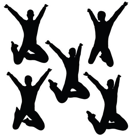 EPS 10 vector illustration of business man silhouette in joyful pose