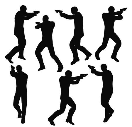 EPS 10 Vektor-Illustration von gunman Geschäftsmann Silhouette in schwarz