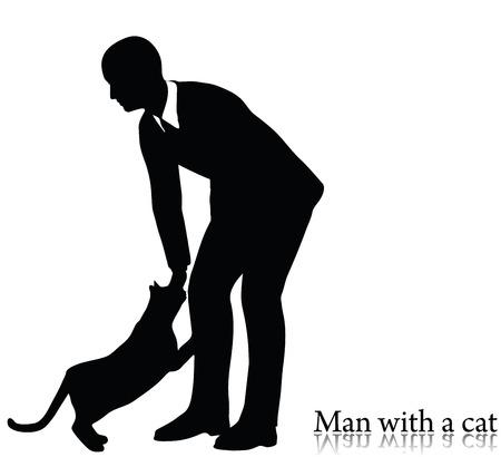 EPS 10 illustrazione vettoriale di uomo d'affari silhouette con un gatto