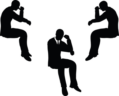 glum: EPS 10 vector illustration of business man silhouette in sorrowful pose