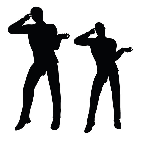 enraged: EPS 10 vector illustration of business man silhouette in angry pose