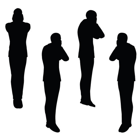 uneasy: EPS 10 vector illustration of business man silhouette in anxious pose Illustration