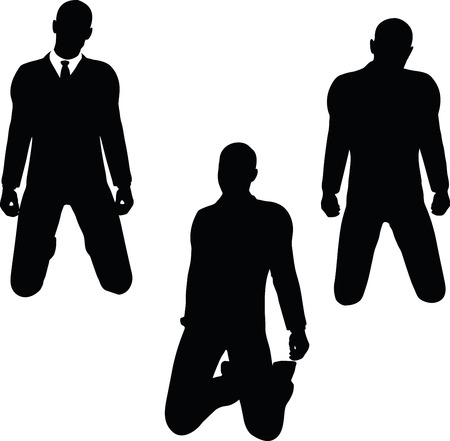 sorrowful: EPS 10 vector illustration of business man silhouette in sorrowful pose