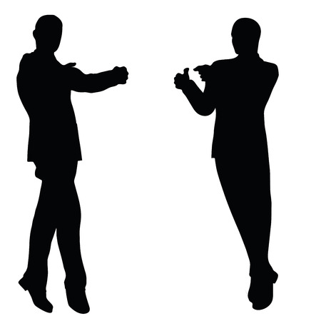 jovial: EPS 10 vector illustration of business man silhouette in happy pose
