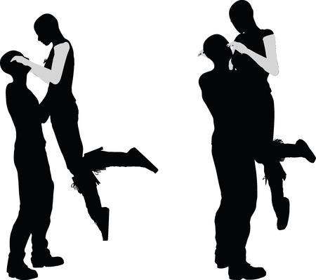 girls kissing: EPS 10 vector illustration of a couple silhouette Illustration