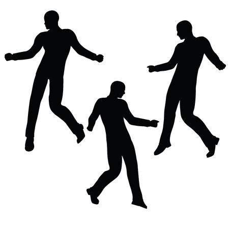 mirthful: EPS 10 vector illustration of business man silhouette in joyful pose