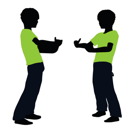 heave: vector illustration of boy silhouette in Lifting Pose