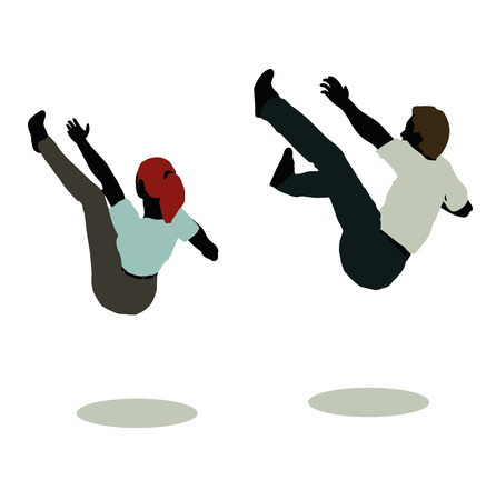 bum: vector illustration of man and woman silhouette in Still Pose Falling Illustration