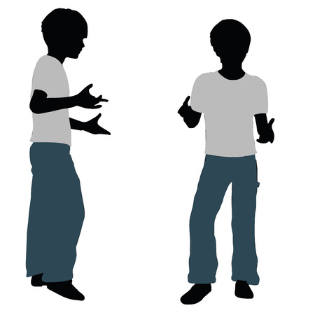 confidant: vector illustration of boy silhouette in Intimate Talk Pose