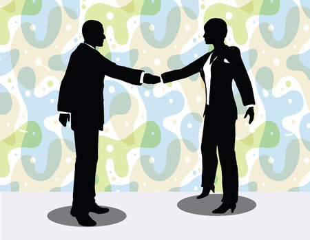 EPS 10 vector illustration of business man and woman silhouette in handshake pose
