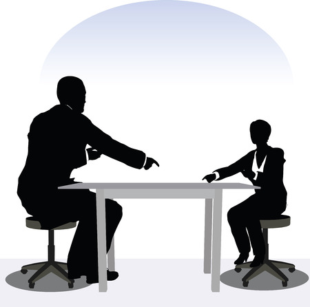 sitter: vector illustration of business man and woman silhouette in meeting pose Illustration