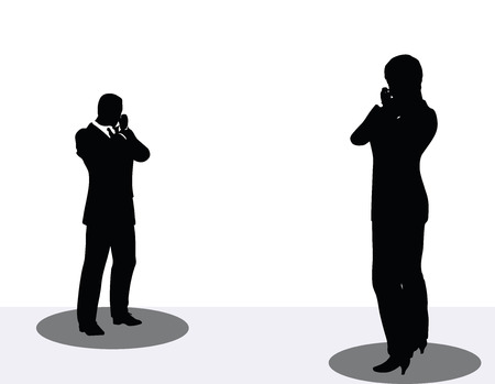 woman cell phone: vector illustration of business man and woman silhouette on phone Illustration