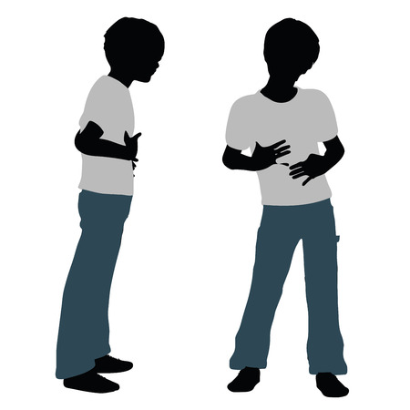 felicitous: vector illustration of boy silhouette in Happy Talk Pose