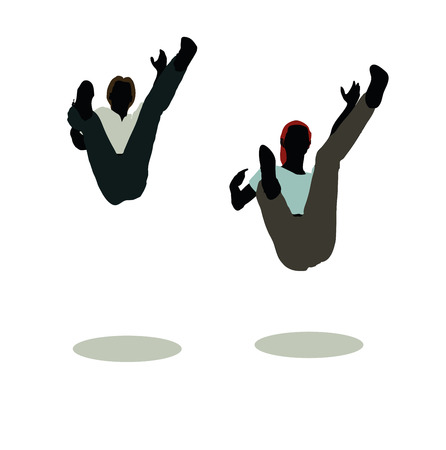 vector illustration of man and woman silhouette in Still Pose Falling Illustration