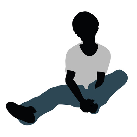 paradisiac: vector illustration of boy silhouette in Happy Talk Pose