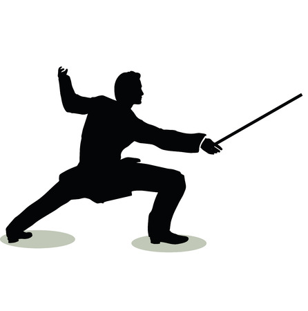 vector illustration of man silhouette in Still Pose Fencer