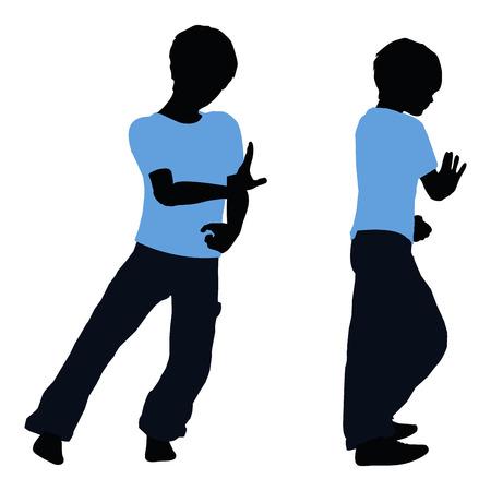 ni�o empujando: ilustraci�n vectorial de la silueta del muchacho en pose Empujar