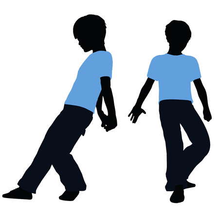 shove: vector illustration of boy silhouette in Pushing Pose Illustration